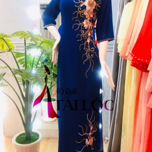 Áo dài bà sui màu xanh dương