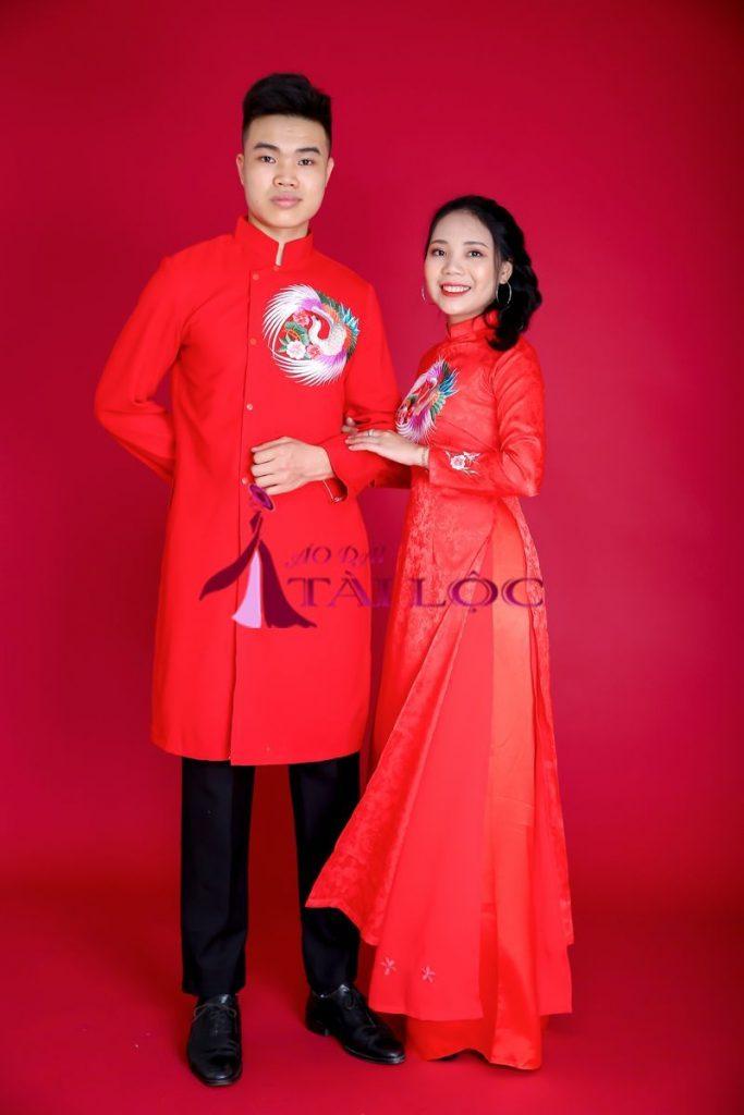 Áo Dài Cặp Đỏ Gấm Thêu