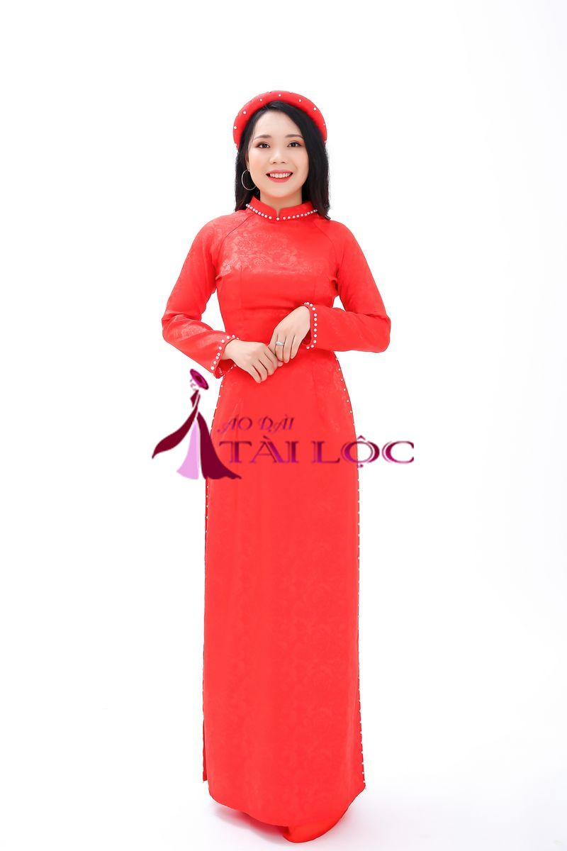 Áo Dài Cưới Đỏ Gấm Hoa