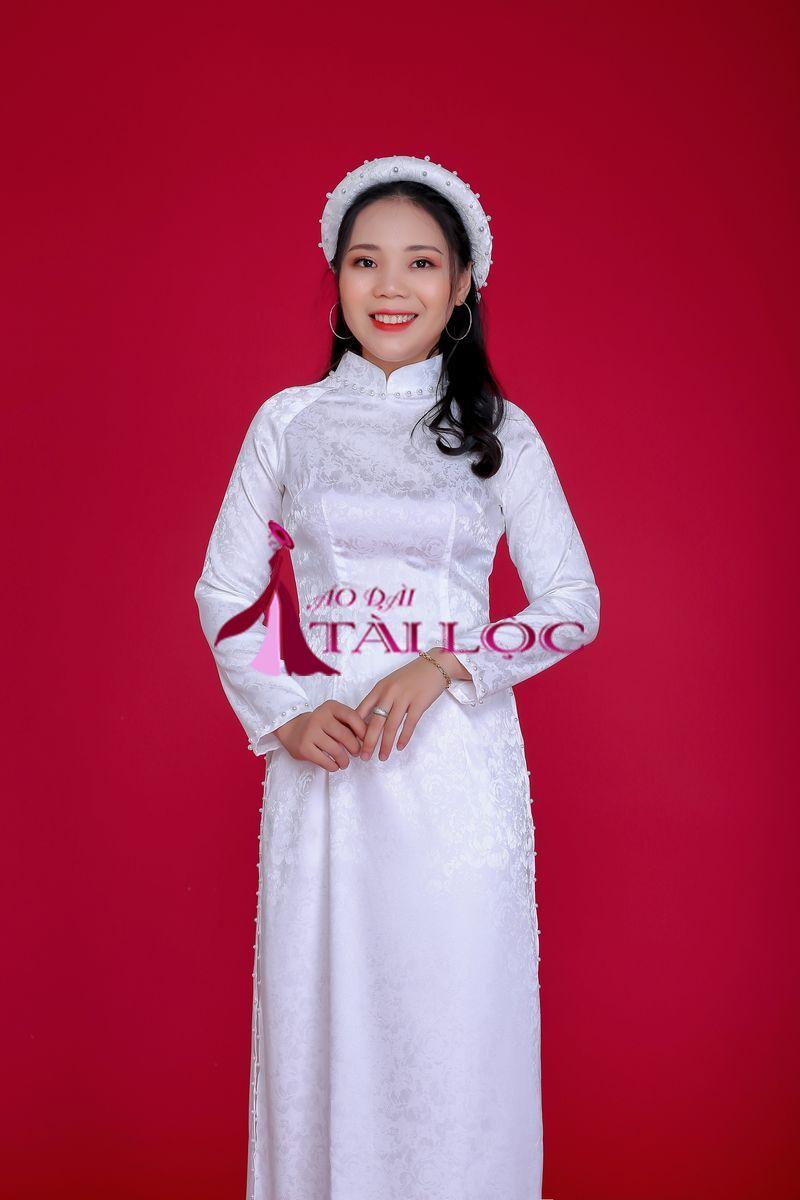 Áo Dài Cưới Màu Trắng Gấm Hoa