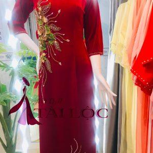 Áo dài bà sui màu đỏ nhung