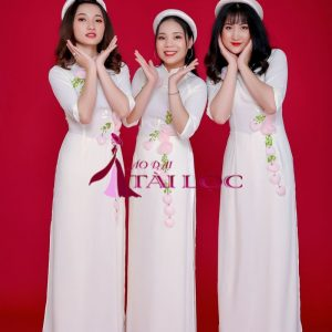 Áo Dài Bưng Quả màu Kem Hoa Hồng