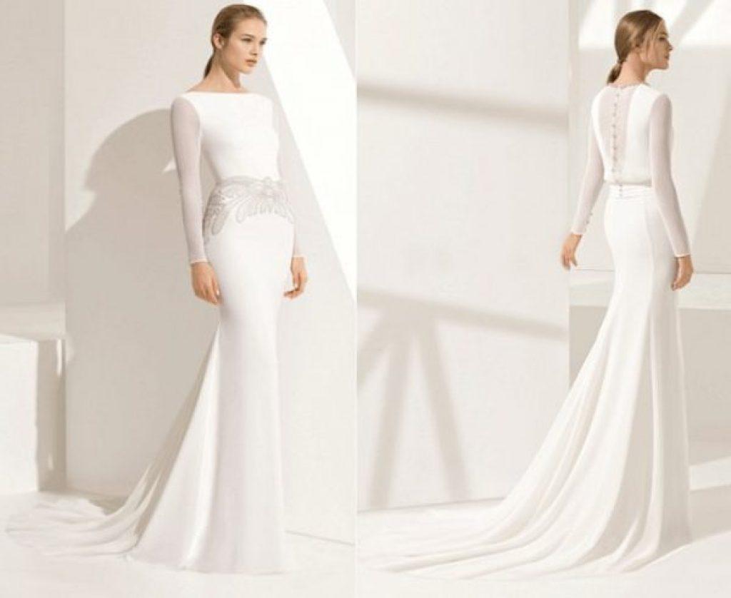 Váy cưới trơn phối ren trắng nhẹ nhàng ngang eo