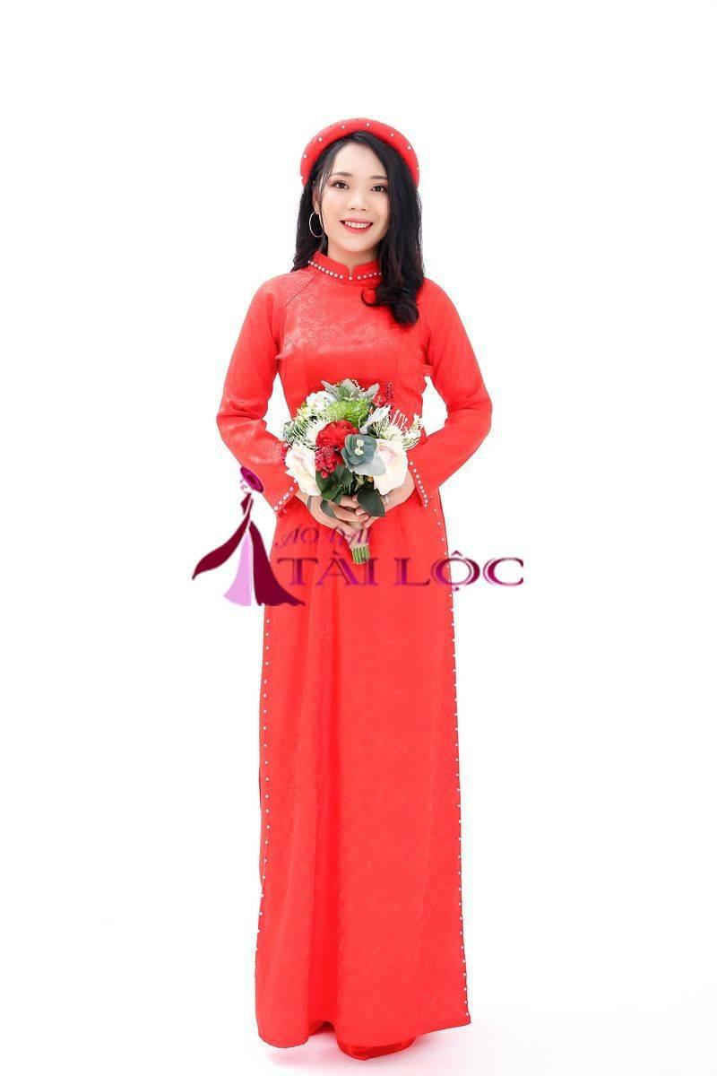 Áo Dài Cưới Màu Đỏ Gấm Hoa