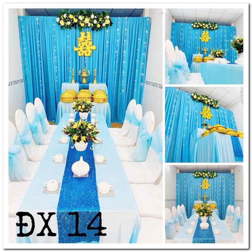 Trang trí phòng khách đám cưới với tông màu xanh dương