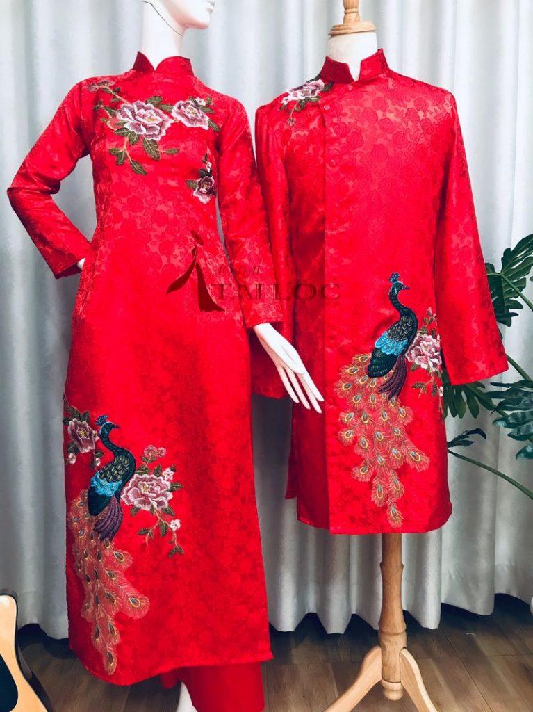 Áo Dài Cưới Chú Rể Đỏ Thêu Hoa Hồng