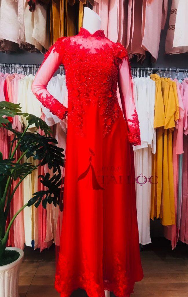Áo Dài Cưới Màu Đỏ Ren Kết Hoa