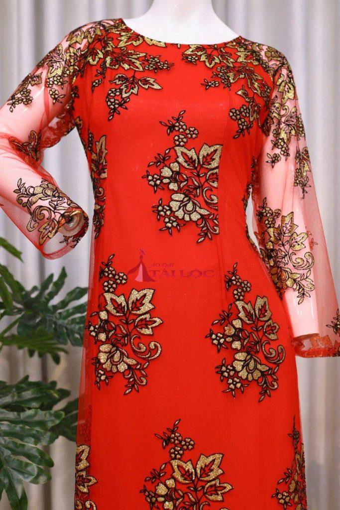 Áo Dài Bà Sui Màu Đỏ Tươi Ren Hoa