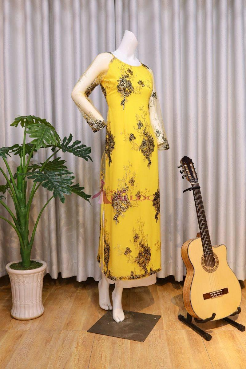 Áo Dài Bà Sui Màu Vàng Ren