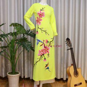 Áo Dài Bà Sui Màu Vàng Vẽ Kết Cườm