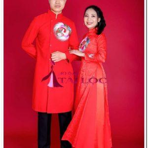 Áo Dài Cưới Chú Rể Đỏ Thêu Thiên Nga