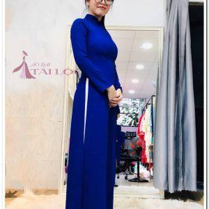 Áo dài lễ tân xanh trơn
