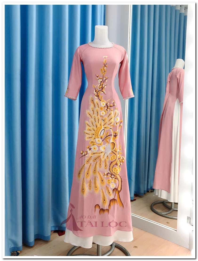 Áo dài bà sui màu hồng ruốc