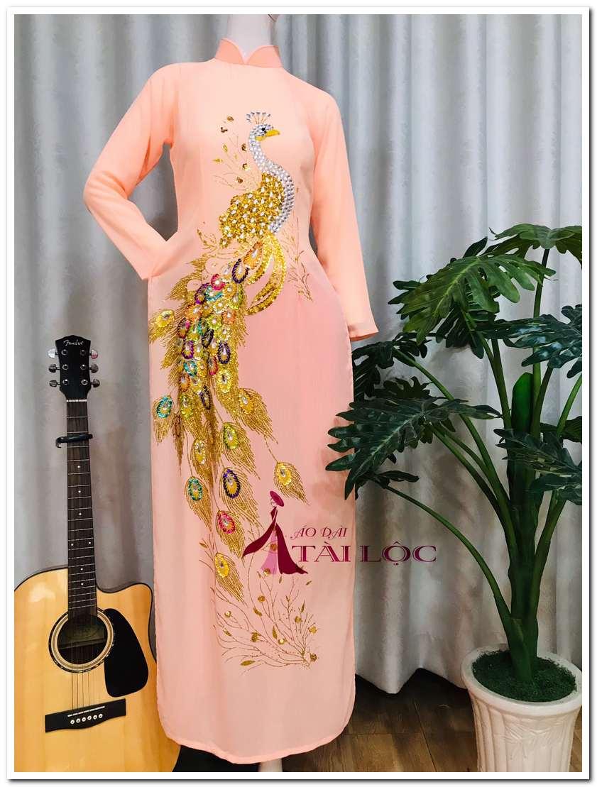 Áo dài bà sui hồng cam