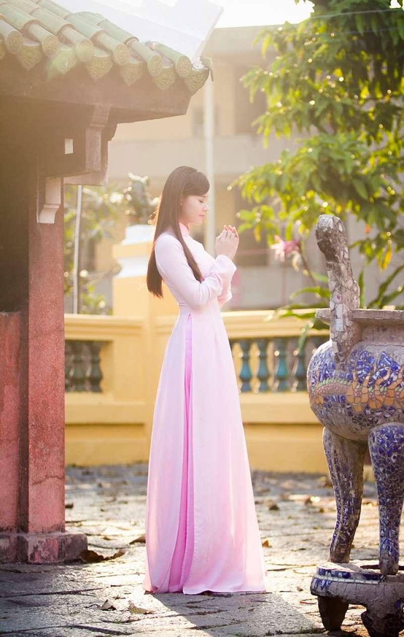 Áo dài hồng quần hồng đậm